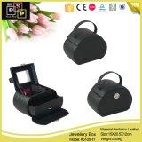 Black PU Leather Round Shape Jewelry Case Wholesale
