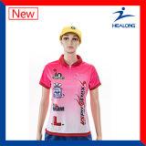 Healong Biggest Factory Digital Printing Lady Sexy Polo Shirt