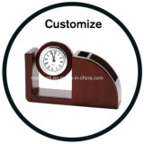 Custom Leather Pen Holder with Clock