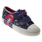 Girls Canvas Vulcanized Shoes with Embroidery and Rubber Weld