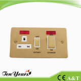 45A Double Pole Wall Kitchen Switch Socket with Neon