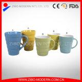 Ribbed Style Design Color Ceramic Mug
