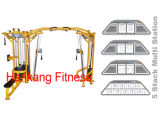 body-building machine, Fitness Equipment, Gym Machine, 5 Stack Multi Station + Crossover- PT-832