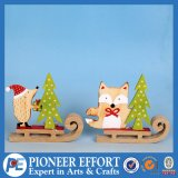 Wooden Fox and Hedgehog Design for Christmas Decoration