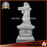 White Headstone Cross with Angle Granite Monument Stone Graveyard