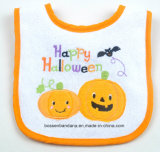 OEM Produce Customized Design Halloween Embroidered Cotton Terry White Applique Baby Feeder Drool Bib