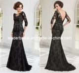 Black Brown 3/4 Sleeves V-Back Mother of The Bride Dress E1243