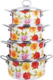 Enamel Casserole with All Flower 4PCS Set