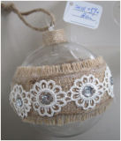 Clear Hand Made Glass Craft with Hemp Decoration