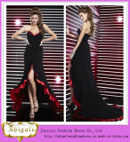 New Sexy Chiffon Black and Red Sweetheart Sleeveless Zipper Back Long Short Front Long Back Prom Dress Yj0067
