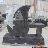 Granite Bench Memorial / Funeral Monument with Flower Carving