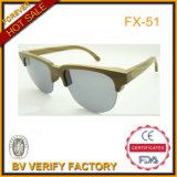 Half Rim Wooden Sunglasses with Round Lens UV400