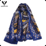 Lady′s Stylish High Quality Geometry Print 100%Silk Ethnic Wind Scarf