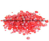 Red Ab Nail Pearl Half Round Craft ABS Imitation Pearls Scrapbook Beads for DIY Nail Decoration (TP-red ab nail rhinestone)