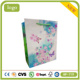 Coated Paper Green Flowers and Butterflies Sweet Candy Shopping Gift Bag