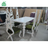 Restaurant Elegant White Wooden Modern Dining Room Tables and Chairs (180 cm)