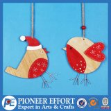 Wooden Bird Design with Santa Hat for Hanging Ornament Decoration