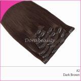 Dark Brown Human Hair Extensions Brazilian Clips in Hair