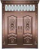 Double Leaf Decorative Window Exterior Steel Copper Glass Door (W-GB-03)