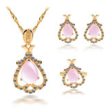Water Drop Rose Quartz 925 Silver Jewelry Set Gold Plated