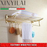 Bathroom Golden PVD Stainless Steel Towel Shelf