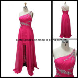 Chiffon Beading and Pleat 100% Handwork High Low One Shoulder Evening Dresses (DL61)