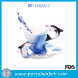 Creative Dolphin Design Porcelain Coffee Cup with Spoon