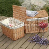 Natural Color Rectangular Wicker Laundry Basket with Eco-Friendly Liner