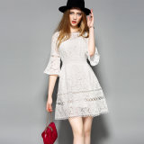 Fashion Hollow Floral Puff Sleeve Lace Women Party Dress