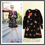 New Fashion Women Black Wool Casual Long Winter Coat Outerwear