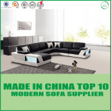 Newest Living Room Divany Leather Sofa with LED Lights