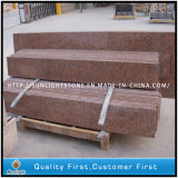 Polished G562 Maple Red Granite Stairs and Floor Tiles