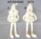 Longlegged Snowman and Santa Sitter Christmas Gift with Hand Embroidery Design-2asst.