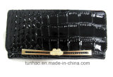 Metal Frame Design Croco PU Leather Lady′s Wallet