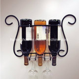 3 Bottle Wall Metal Wine Bottle Holder for Storage Decor