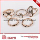 Fashion 5PCS/Set Golden Vintage MIDI Gemstone Women Party Ring Sets