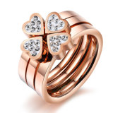 Diamond Love Rose Gold Fashion Designer Woman Rings Stainless Steel Jewelry