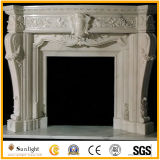 White Marble Fireplace with Beautiful Flower Electric Fireplace Mantel Surround