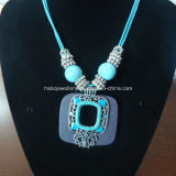 Bohemia Style Glass Beads with Turquoise Stone Necklace (XJW13360)