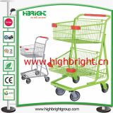 American Style Hand Push Shopping Cart with Two Basket