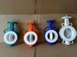 Blue Color Wafer Butterfly Valve with PTFE Seat