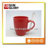 14oz Red Glazed Porcelain Mug with Spoon of Chb001