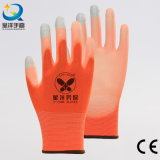 13gauge Orange Polyester Liner PU Coated Touch-Screen Safety Work Glove (PU2007)