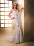 Women's Ivory One Shoulder Mermaid Lace Prom Evening Dress