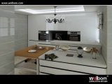 Automatic Gloss Lacquer Kitchen Cabinet with RGB LED Light