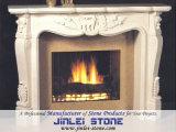 White Stone Sculpture Marble/Granite Stone Fireplace