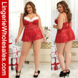 Plus Size Red Lace Santa Babydoll Sexy Lingerie for Women