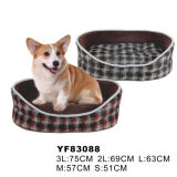 New Fashion Classical Grid Pet Bed with Bolster Provides Added Comfort