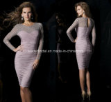 Vintage Knee-Length Mother′s Dress Pleats Beads Sheath Evening Dresses Z7054