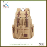 Custom Leather Patch Canvas Backpack Cheap School Backpack
